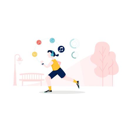 Girl doing exercise and listening music on wireless headphone in park Illustration