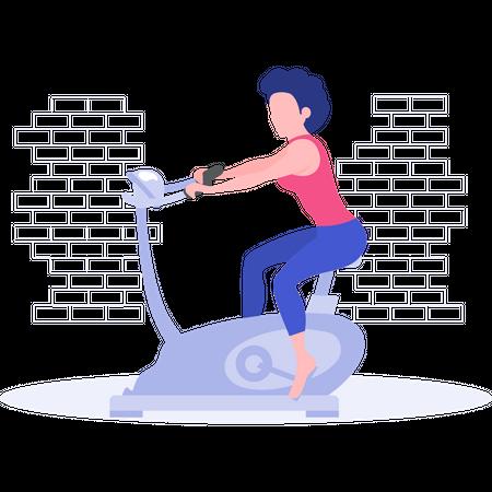 Girl doing exercise on cycling machine Illustration