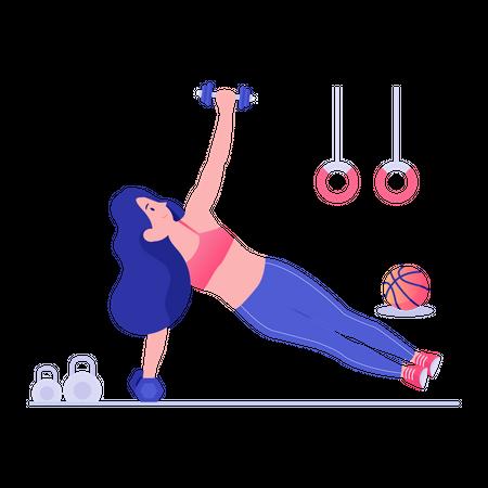 Girl doing exercise with dumbbells Illustration