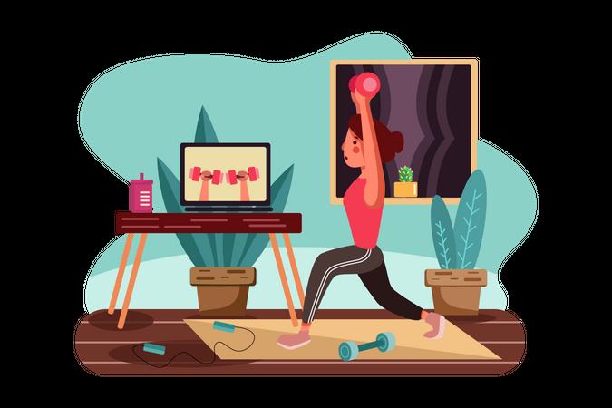 Girl doing exercises under the guidance of online trainer Illustration