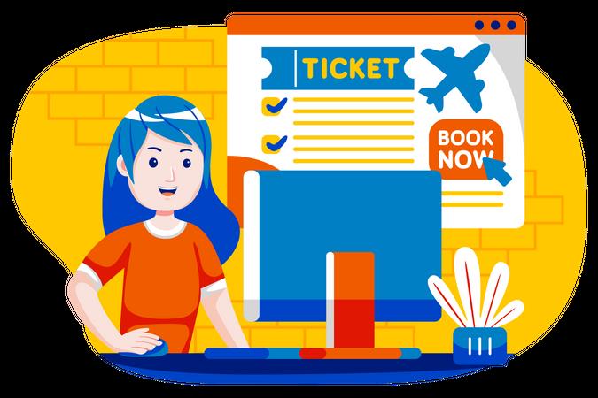 Girl doing flight booking Illustration