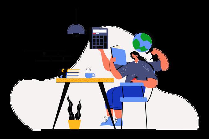 Girl doing homework Illustration
