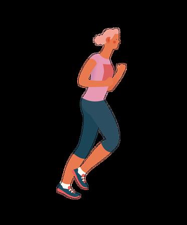 Girl doing jogging Illustration