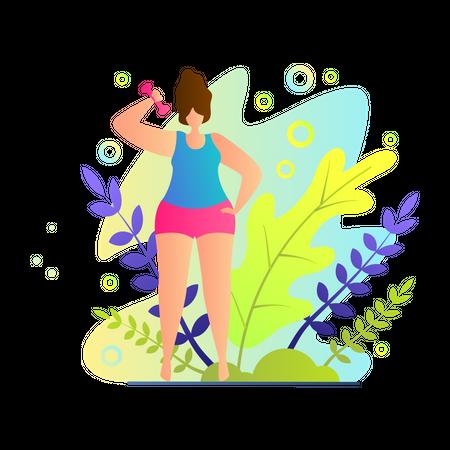 Girl doing Light Exercise at garden Illustration