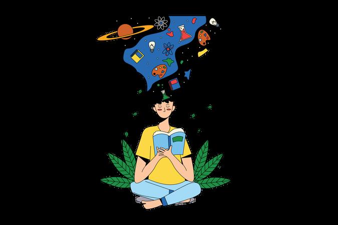 Girl doing Meditation while holding book Illustration