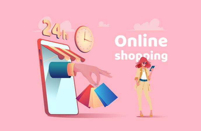 Girl doing mobile shopping Illustration