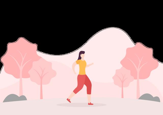 Girl Doing Morning Run Illustration