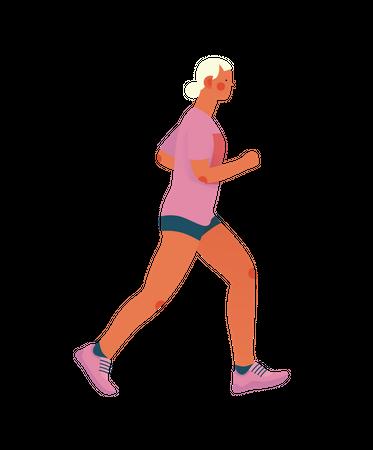 Girl doing morning walk Illustration