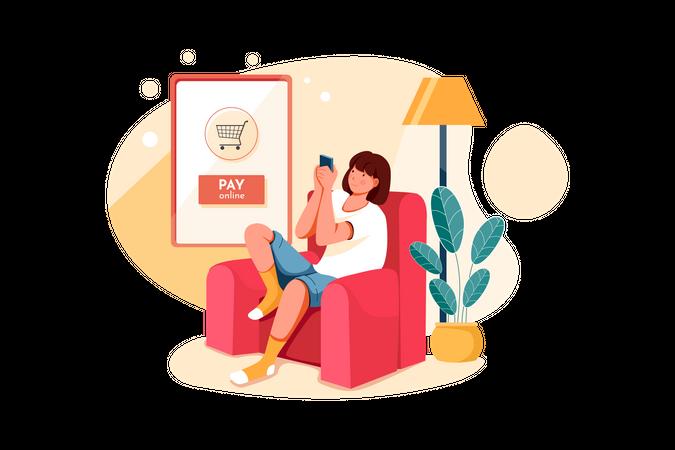 Girl doing online payment for her order Illustration