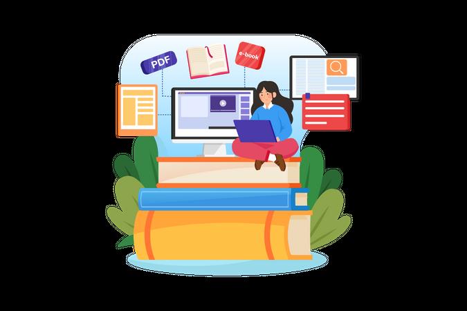 Girl doing online reading Illustration