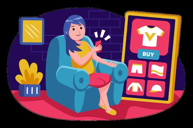 Girl doing online shopping Illustration