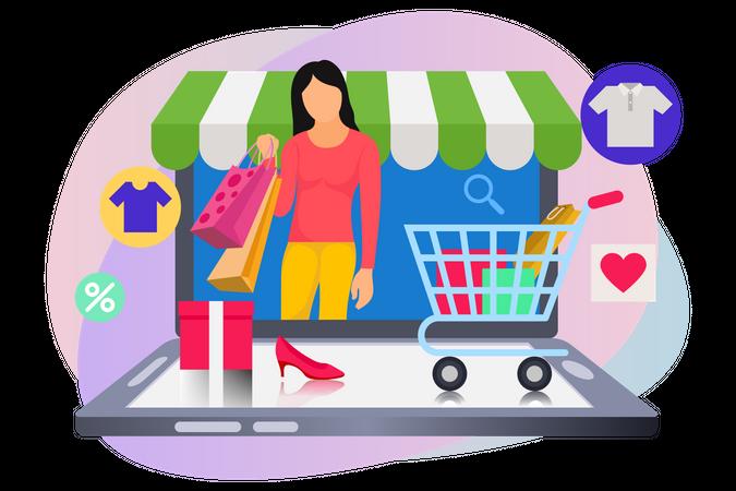 Girl doing online shopping on mobile Illustration