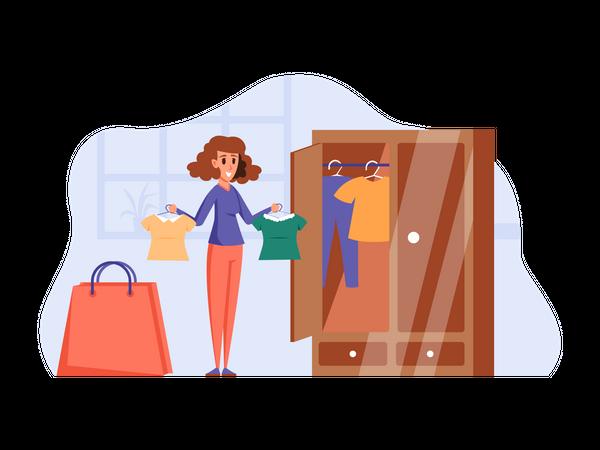 Girl doing shopping Illustration
