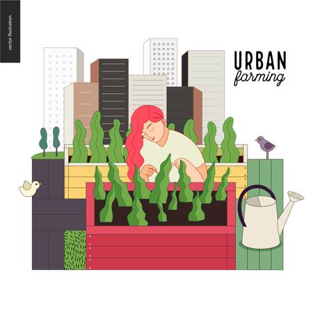 Girl doing Urban farming Illustration