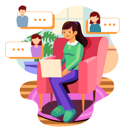 Girl doing video chat with friends Illustration