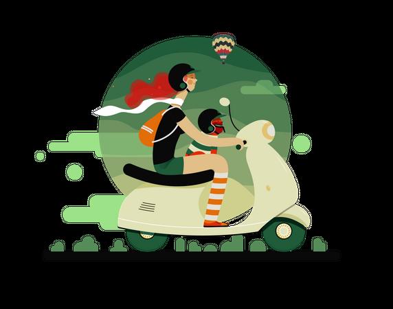 Girl driving bike Illustration