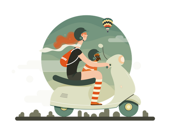 Girl driving scooter with her pet Illustration