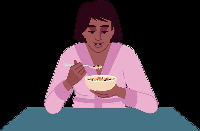 Girl eating cereals Illustration