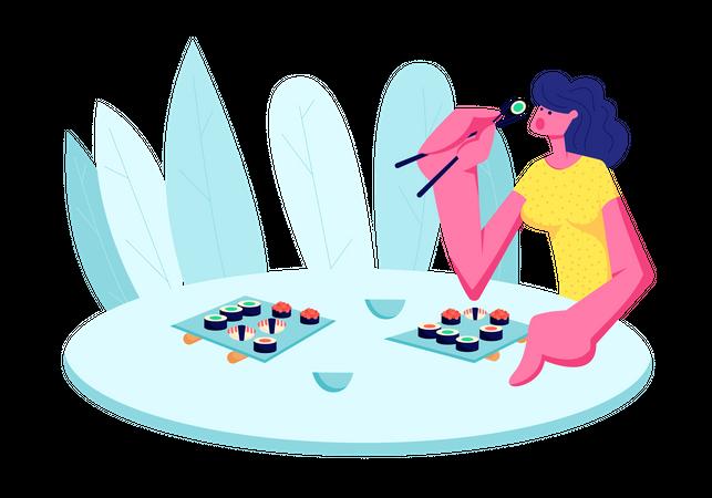 Girl Eating Sushi in Restaurant Illustration