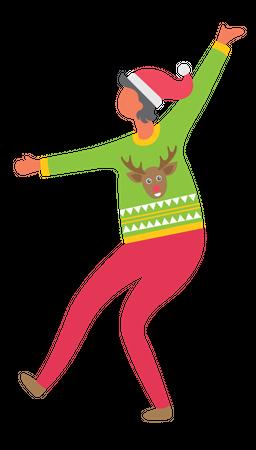 Girl enjoying christmas eve Illustration