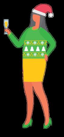 Girl enjoying christmas party Illustration