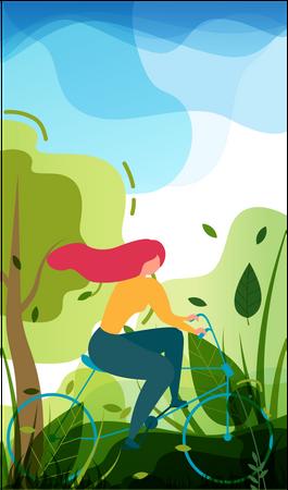 Girl enjoying cycling in city park Illustration