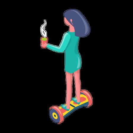 Girl enjoying ride of self balancing scooter Illustration