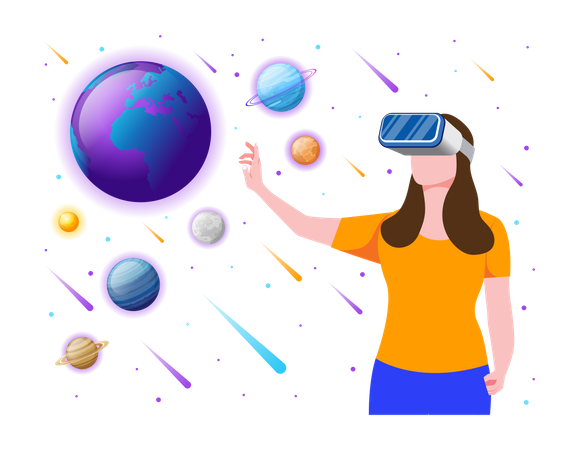 Girl experiencing Space environment using VR tech Illustration