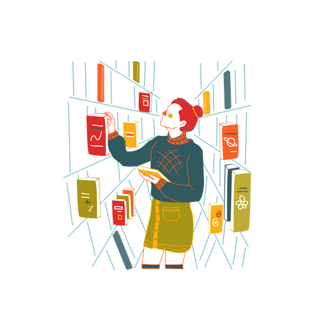 Girl finding book in library Illustration