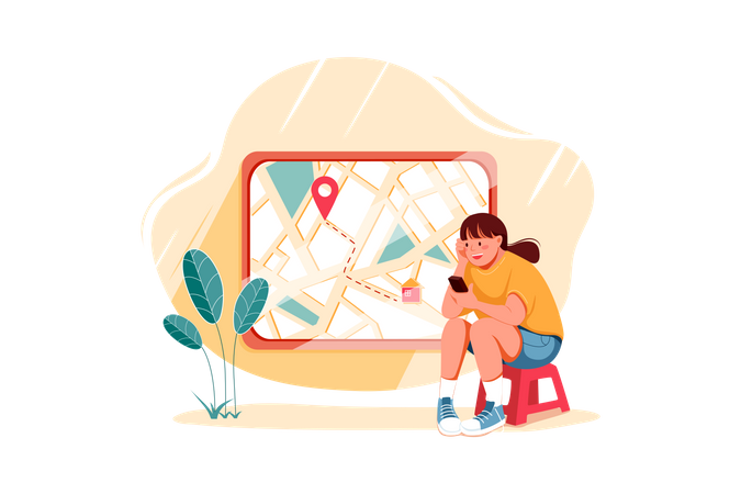 Girl finding location on map Illustration