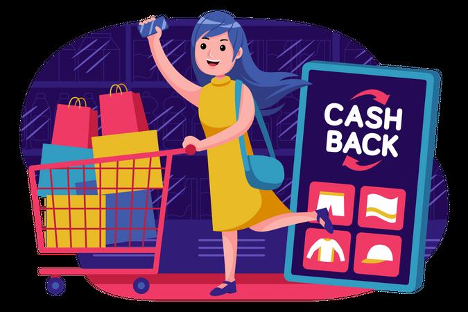 Girl getting cash from online shopping Illustration
