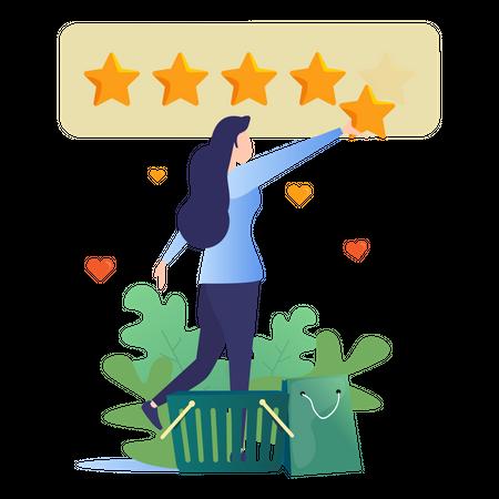 Girl Giving 5 stars rating for online shopping Illustration