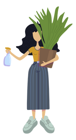 Girl giving water to plant Illustration