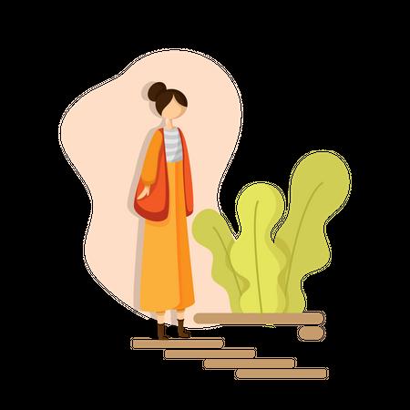 Girl going for walk in park Illustration