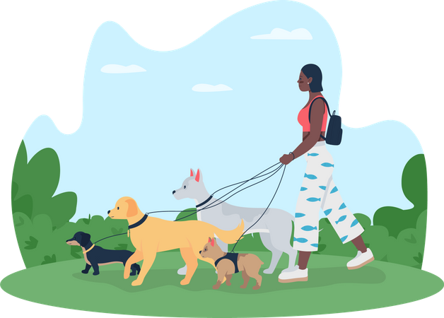 Girl going for walking with dogs Illustration