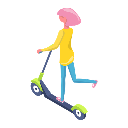 Girl going on electric scooter Illustration