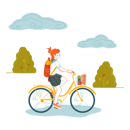 Girl going to school on bicycle Illustration