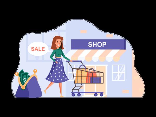 Girl going to shopping Illustration