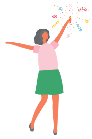 Girl holding bang flapper Illustration