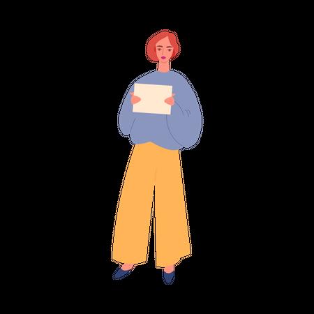 Girl holding banner Illustration