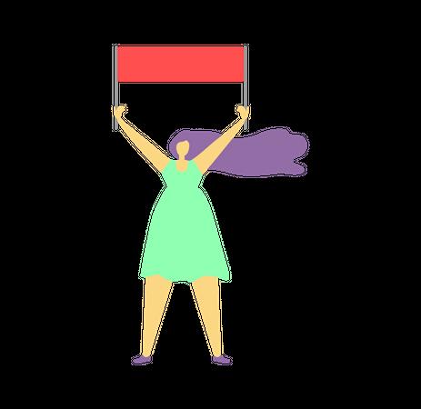 Girl holding banner in her hand Illustration