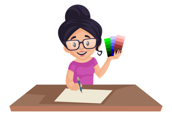 Girl holding color shaded in her hand while drawing Illustration