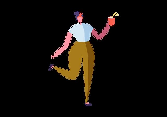 Girl holding drink in her hand Illustration