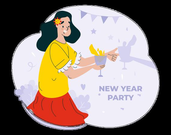 Girl holding Drinks for new year's celebration Illustration