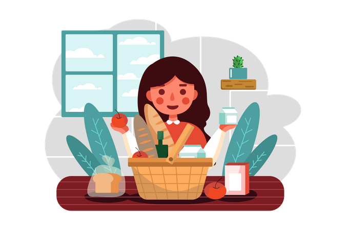 Girl holding groceries Illustration
