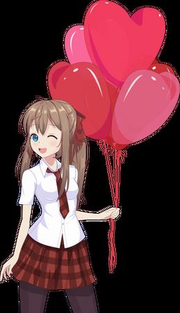 Girl holding heart shaped balloons Illustration