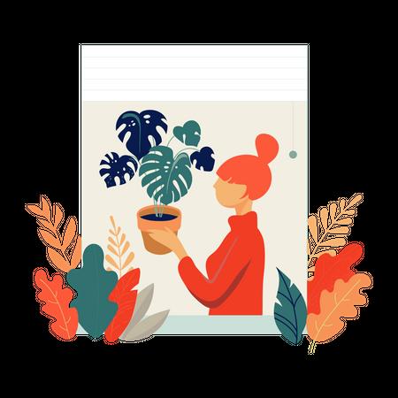 Girl holding plant pot Illustration