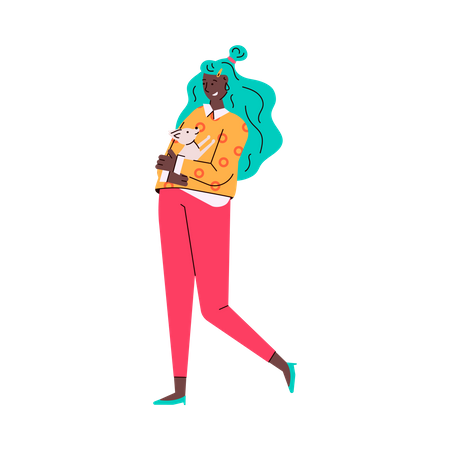 Girl holding puppy in her hand Illustration