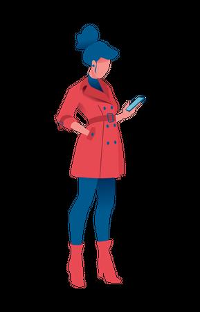 Girl holding smartphone Illustration