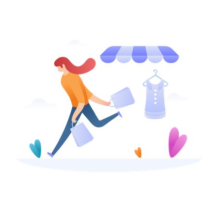 Girl In Hurry for Shopping Sale Illustration